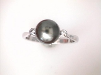 Pearl is is the Birthstone for June Tahitian-Pearl-Ring-with-Diamond-Accents