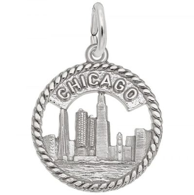 photo number one of Sterling silver Chicago skyline charm item 001-710-03520