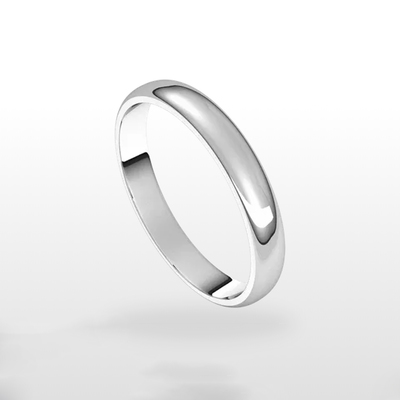 photo number one of 14 karat white gold lightweight standard fit 3mm wedding band item HR732758