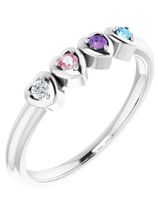 photo of Sterling silver mothers ring with 4 imitation colored stones item 001-410-00522