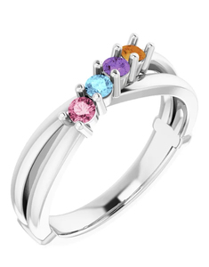 photo of Sterling silver mothers ring with 4 imitation colored stones item 001-410-00530