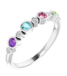 photo of Sterling mothers ring with 4 imitation colored stones and 5 round CZ accents item 001-410-00532