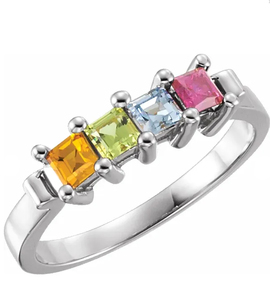 photo of Sterling mothers ring with 4 imitation princess cut colored stones item 001-410-00533