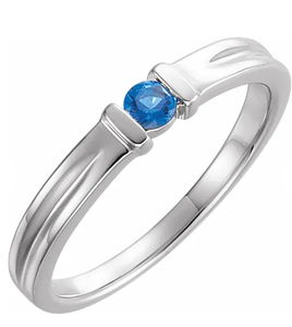 photo of Sterling silver birthstone ring with 1 imitation colored stone item 001-410-00535