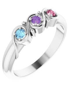 photo of Sterling mothers ring with 3 imitation colored stones item 001-410-00618