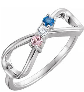 photo of Sterling mothers ring with 3 June imitation colored stones item 001-410-00636