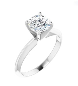 photo of 14karat white gold 4 prong solitaire engagement ring with 3/4 carat round diamond with I1 clarity and G/H color item 001-421-00009