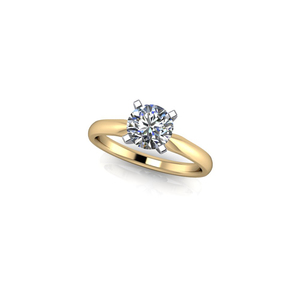 photo of 14 karat two tone solitaire engagement ring with 1/2 carat round diamond with I1 clarity and G/H color item 001-421-00011