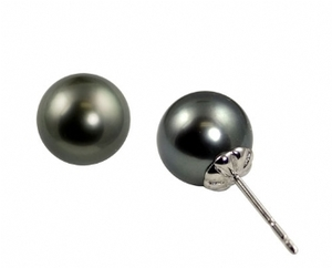 photo of 14karat white gold 8-9mm tahitian pearl stud earrings item 001-615-00539