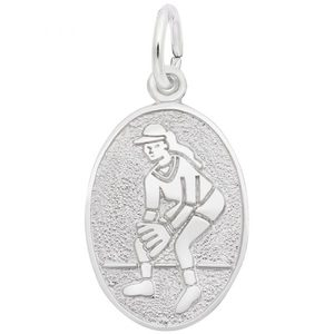 photo of Sterling silver oval disc softball charm item 001-710-03533