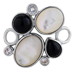 photo of Sterling silver pebbles clasp - mother of pearl and black agate convertible clasp item 001-711-00026