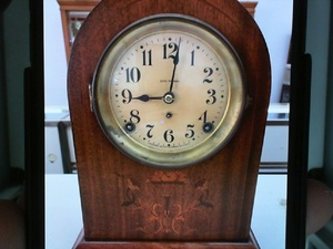 photo of 1913 Seth Thomas Prospect 2, eight day, 1/2 hour and hour strike, Mahogany case w/ marqueterie. back is not original item 001-840-00440