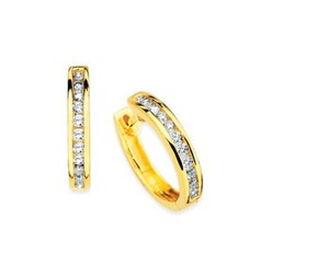 photo of 14 karat yellow gold Channel Set Diamond Hoop Earrings with 1/7th carat total weight of diamonds item OAOE077