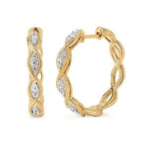 photo of 14 karat yellow gold Braided Hoop Earrings with 1/4 carat total weight of diamonds item OAOE19A46