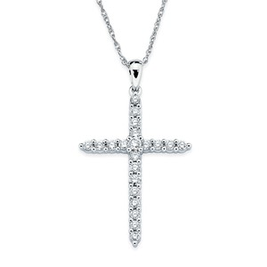 photo of 14 karat white gold cross with 1/10 carat total weight diamond pendant on an 18